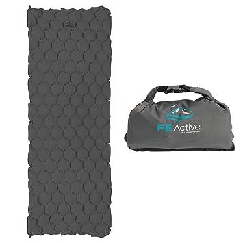 FE Active - Colchoneta para Dormir Camping Colchón de Aire Ligero para Acampar Colchón Inflable Resistente