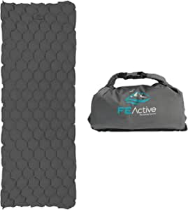 FE Active - Sleeping Pad Camping Air Mattress Lightweight Dry Bag Inflatable Blow Up Bed Water Resistant for Outdoors, Camping, Backpacking, Hiking, Trekking | Designed in California, USA