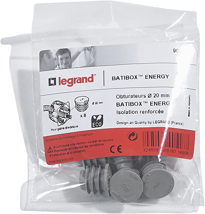 Vendu par 8 Diam/ètre 20 mm Obturateurs de gaine Batibox Energy Legrand