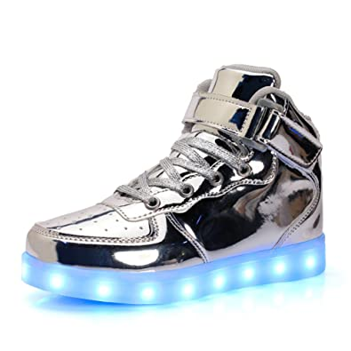UBFen Unisex Zapatillas con Luces Alta 7 Colors USB Carga LED Luz Luminosas Flash Sneakers Zapatos Deporte para Niños Niñas Hombre Mujer Deportivos Plateado ...