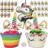 24 Unicorn Cupcake Toppers, Plus 24 Unicorn Cupcake Wrappers and 1 Bonus Giant Unicorn Balloon. The Perfect Unicorn Cupcake Decorations and Unicorn Party Supplies for a Unicorn Party.