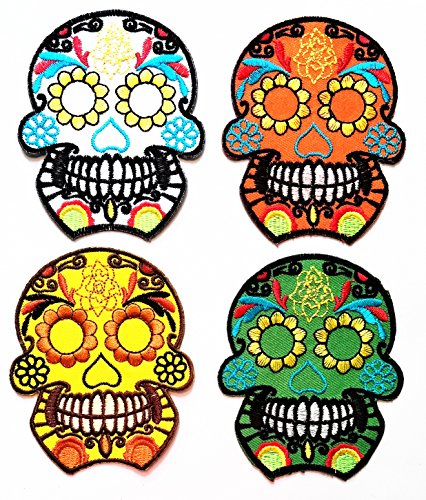 Nipitshop Patches Set 4 Pcs Skull Novelty Patch Skull Candy Skull Sunflower Eye Star Skull Rose head Patch Skull day of the dead tattoo embroidered applique iron-on Patch for Clothes (Day Of The Dead Costume Australia)