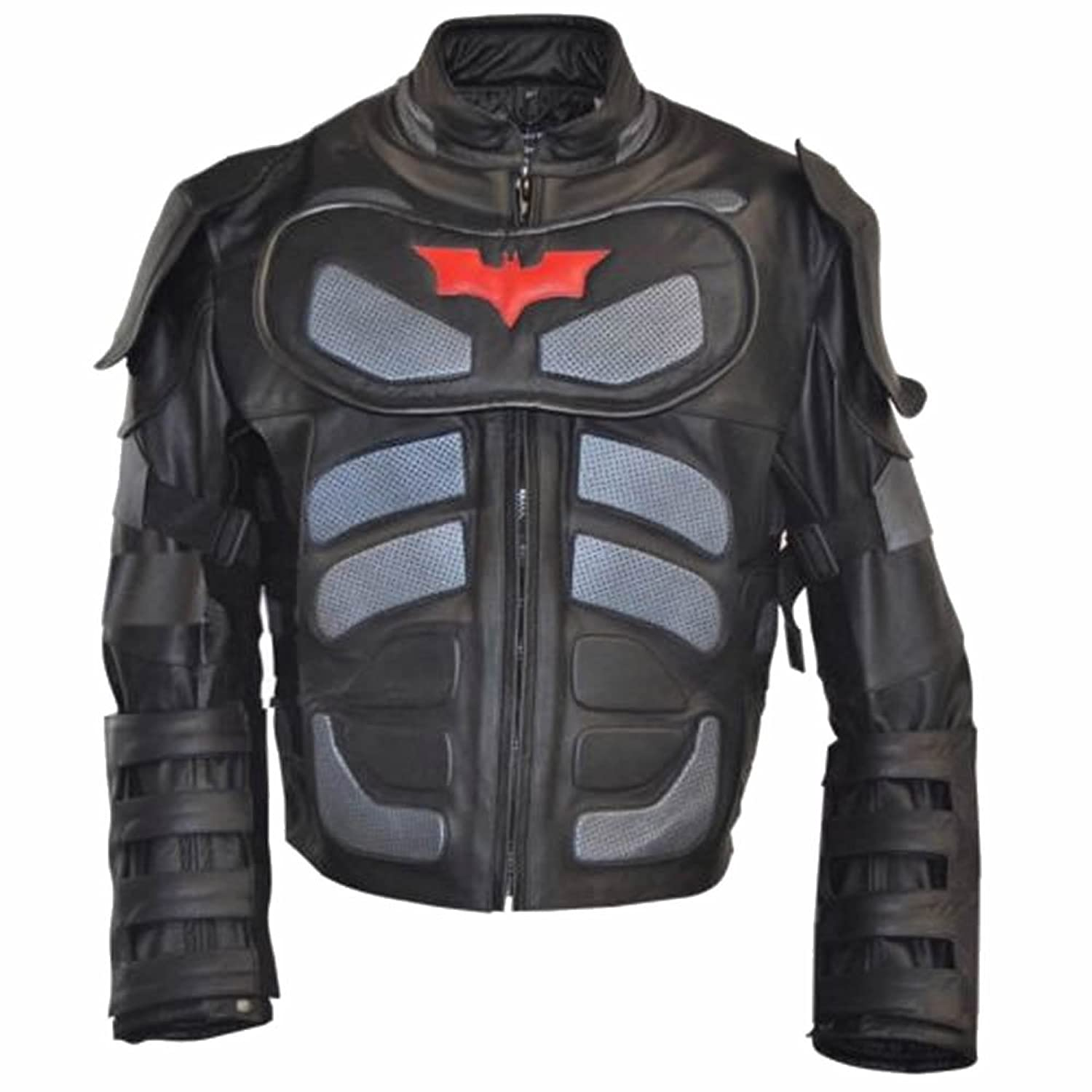 Men's Fashion Batman Dark Real Leather Knight Jacket Black