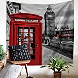 London Tapestry Wall Hanging, Street View of London Telephone Booth Tapestry Retro Tapestry Love City Icon Wall Tapestry, City Landscape Decor Wall Art Tapestry, Hippie Wall Tapestry for Bedroom Decor