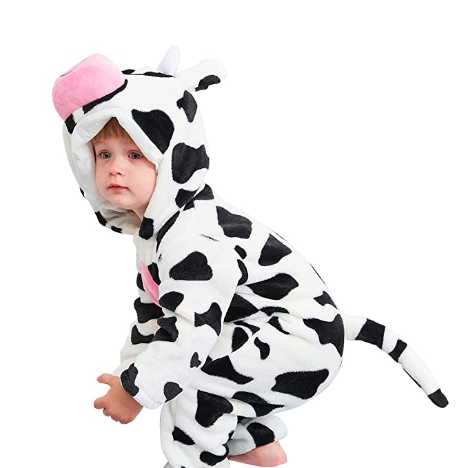 22be8be46757 chinatera Newborn Baby Cartoon Animals Hooded Pajamas Flannel Rompers Pjs  Homewear Front Zipper Jumpsuit