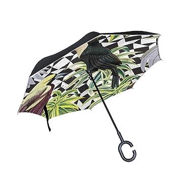 Mnsruu - Paraguas invertido para pájaros Tropicales, Doble Capa, Paraguas Plegable Resistente al Viento