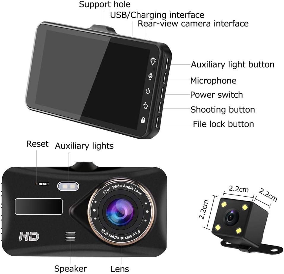 Night Vision Dash Cam 4 IPS Touch Screen Dual Lens Car Dashboard Camera 1080P FHD Video Recorder and Waterproof Backup Camera 170 Degree Wide Angle,G-Sensor,Parking Monitor Loop Recording