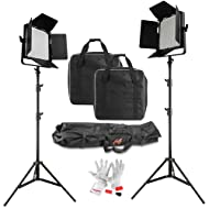 Tolifo CRI95+ 5600K 64W Dimmable 1520 Led Video Studio Lighting Kit with 8ft Light Stands and DMX adapter for Further DMX Applications