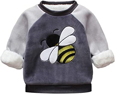 Pollyhb Toddler Baby Girls Boy Sweatshirt,Baby Solid Thicken Ear Hoodie Tops Outfits