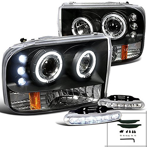 F250 F350 F450 F550 Black Halo Projector Headlights w/LED Bumper Fog (F350 Euro Headlights)