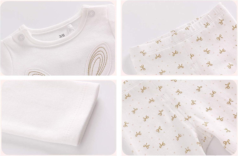 Mornyray Toddlers Girls Autumn 2 Pieces White Sleeper Pajamas Printed Cotton Sleepsuit