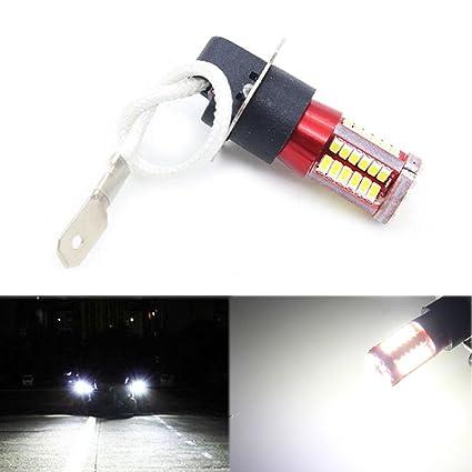 SODIAL 1 par H3 4041 SMD 57 LED Bombillas XENoN Blanco 6000K Lampara luz de niebla