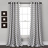 Lush Decor Feather Arrow Geo Room Darkening Window Curtain Panel Pair, 84″ x 52″, White & Black For Sale