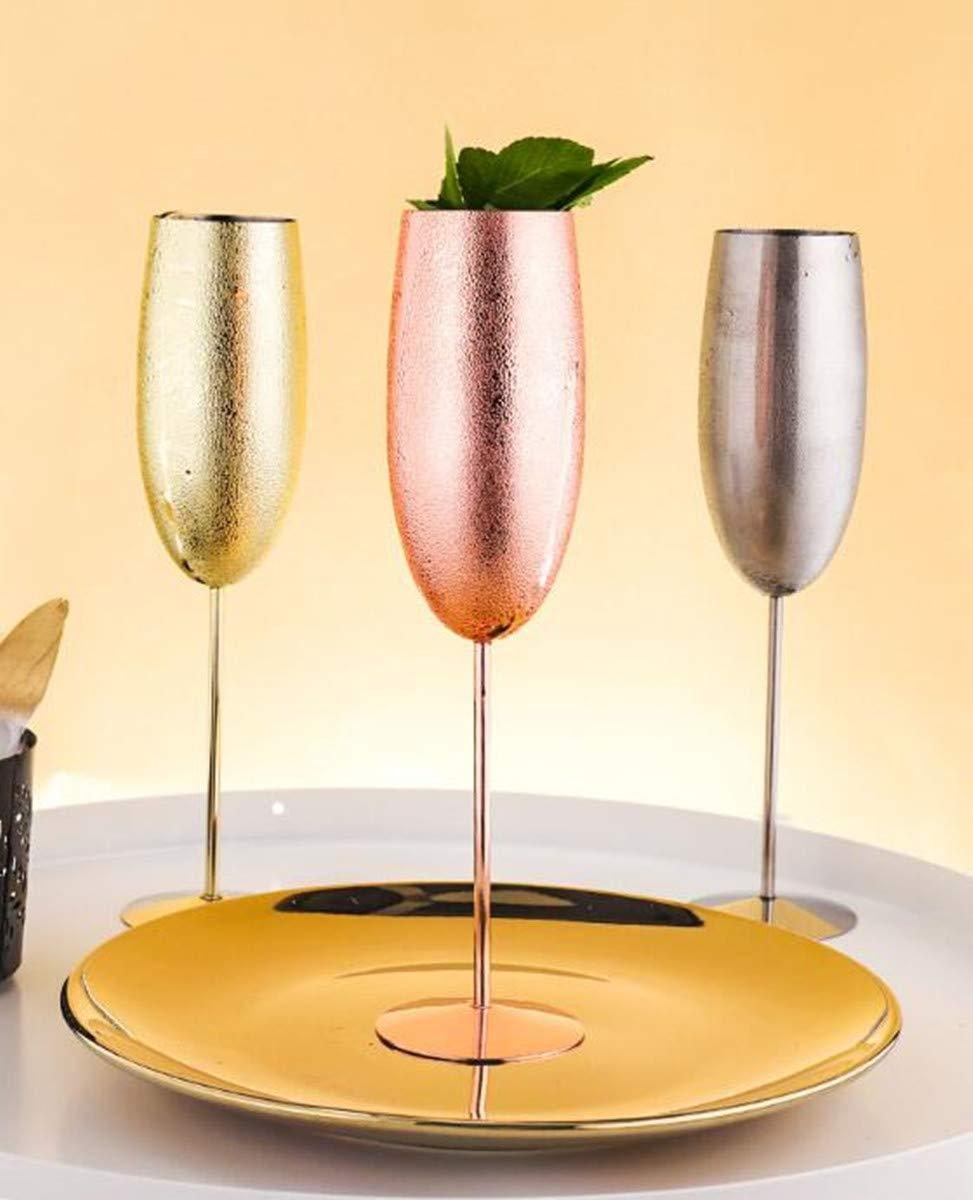 Sektgläser, Edelstahl, 200 ml, unzerbrechlich, BPA-frei, für Hochzeit, Partys und Jahrestag, 3 Farben, Edelstahl, silberfarben, 200 ml