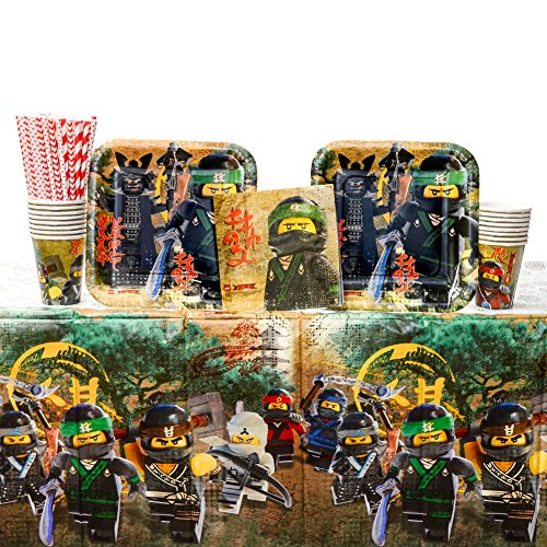 Cedar Crate Market Bundle: Lego Ninjago Movie Party Supplies Pack for 16 Guests: Straws, Dinner Plates, Luncheon Napkins, Cups, and Table Cover