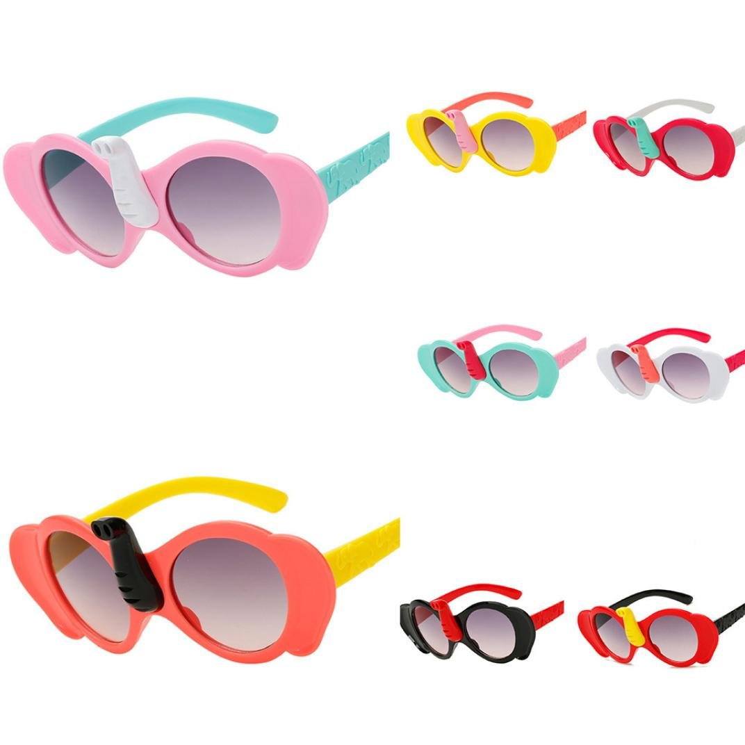 Sunbona Sunglasses for Kids,UV Protection, Children Cartoon Elephant Goggle Glasses Rubber Flexible Frame Sports Style Polarized Wayfarer Sunglasses for Boys and Girls (White)