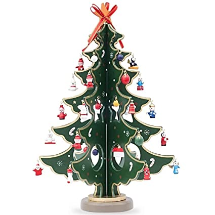 12.5u0026quot; Wooden Tabletop Christmas Tree With 32 Miniature Christmas  Ornaments