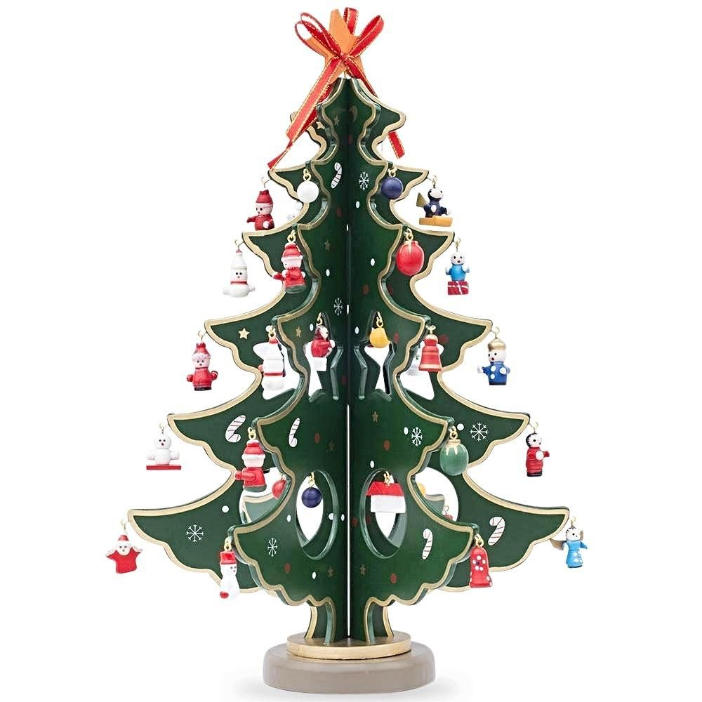 12.5'' Wooden Tabletop Christmas Tree with 32 Miniature Christmas Ornaments