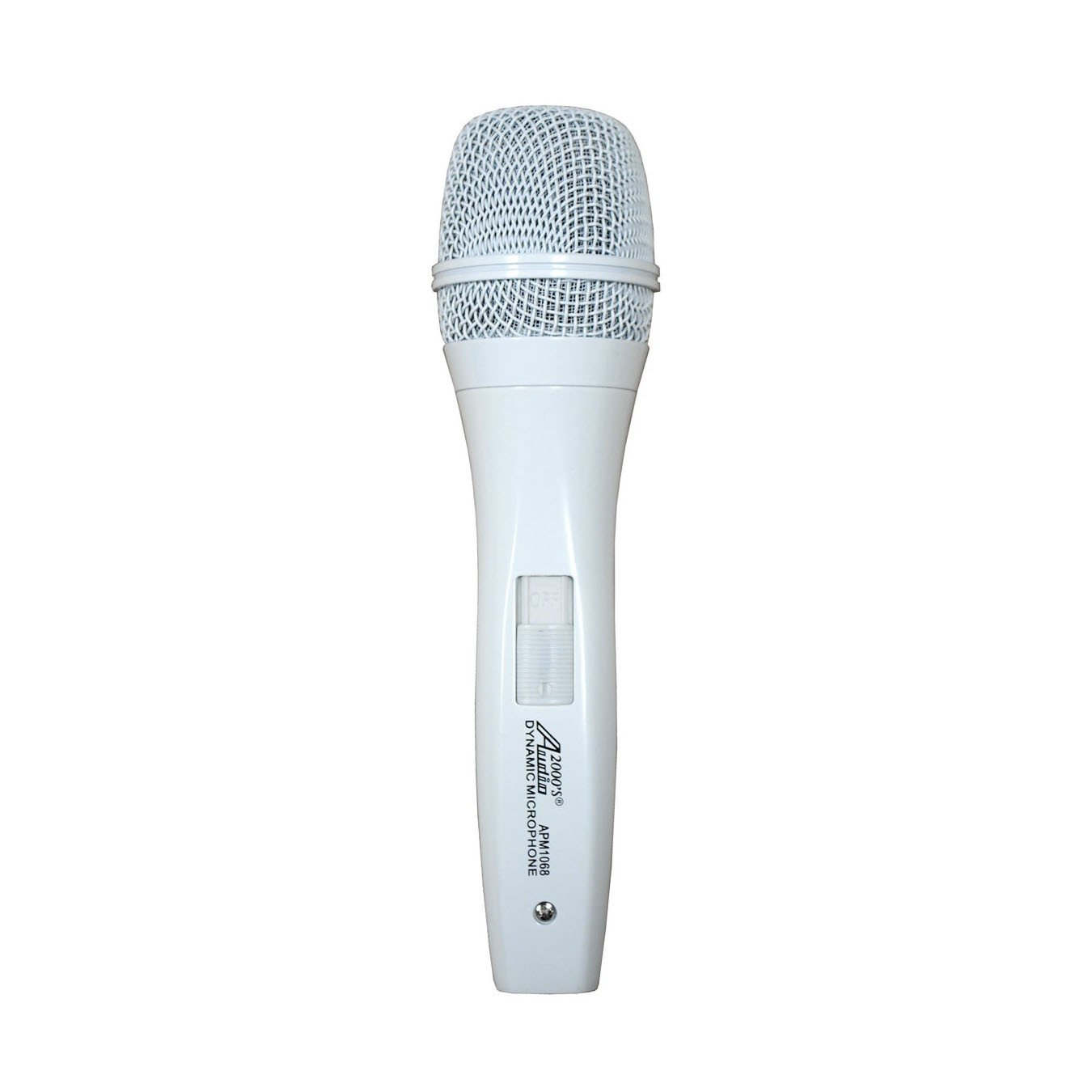 Audio 2000s APM1068 White Dynamic Vocal Microphone with On/Off Switch