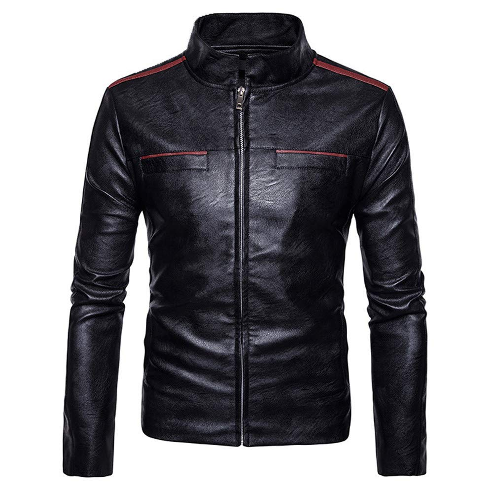 WUAI Clearance Mens Motorcycle Jackets Casual Outdoors Full-zip Stand Collar Fashion Leather Outwear(Black,US Size L = Tag XL)