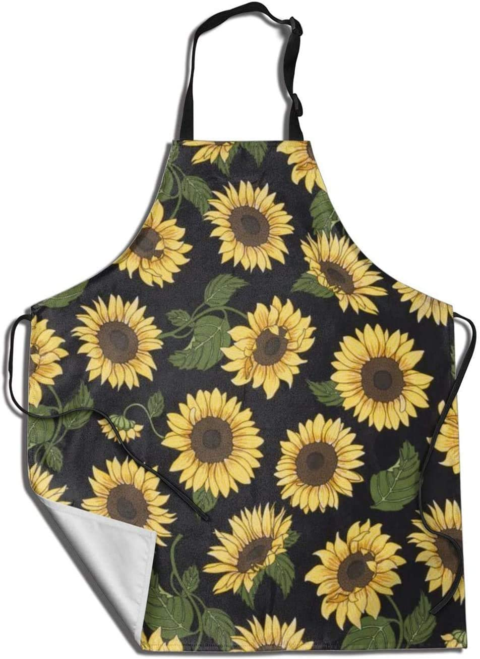 Dadidyc Sunflower with Leaves- Unisex Cooking Apron - Kitchen Grilling Apron for Baking/BBQ Men Women - Waterproof Dustproof Garden Funny Apron Black 31.5X27.5 Inch