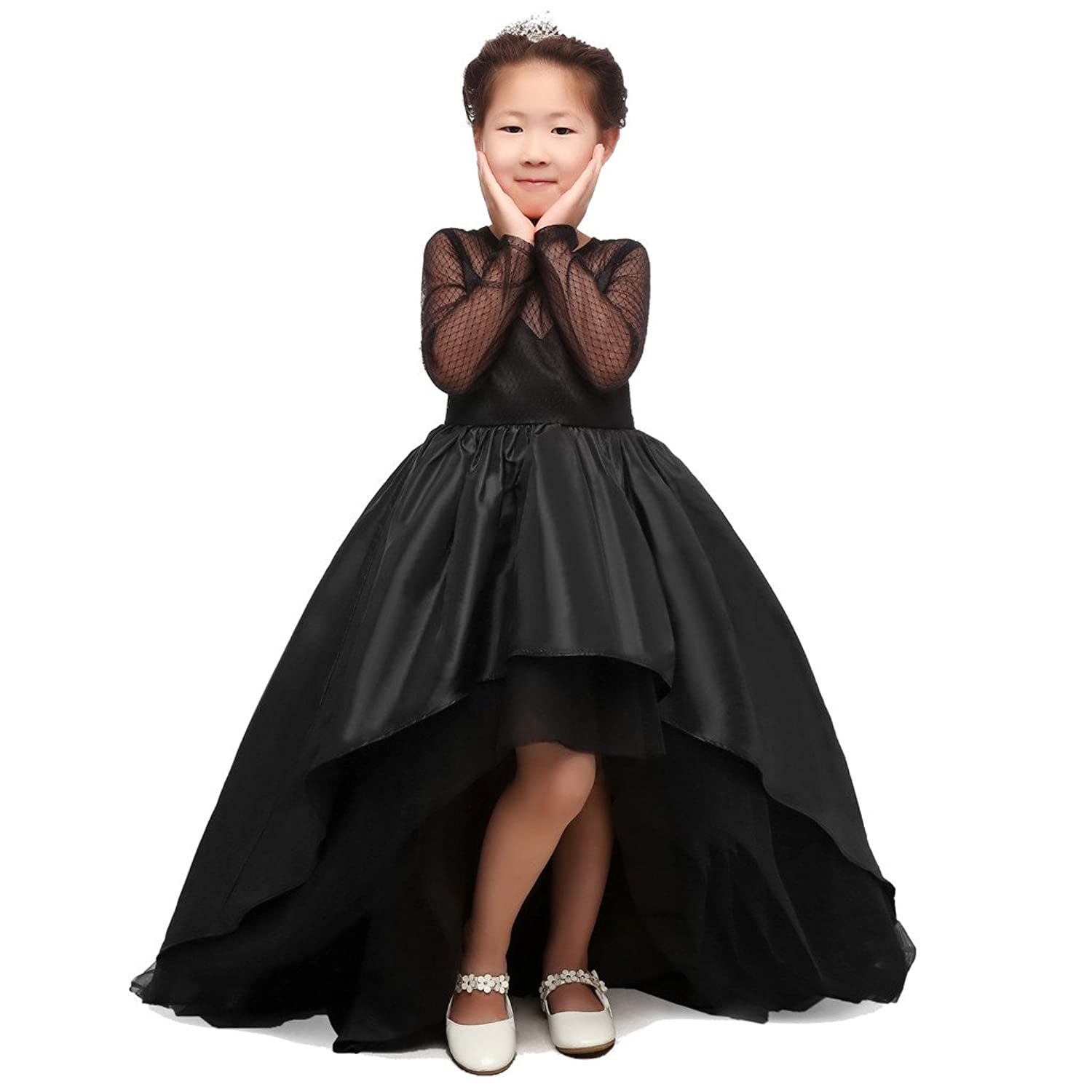 CEZOM High Low Black Flower Girl Dresses First munion Pagent Dress with Lo