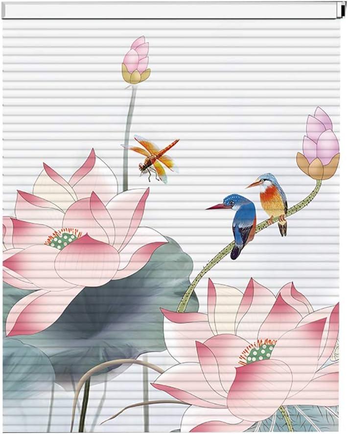 JLXJ Persianas Venecianas Ventana Puerta Aluminio Persianas Venecianas con Estampado Floral Material Recortado de Apagón Impermeable, para Oficina En Casa, Los 55cm/75cm/95cm/115cm/135cm de Ancho
