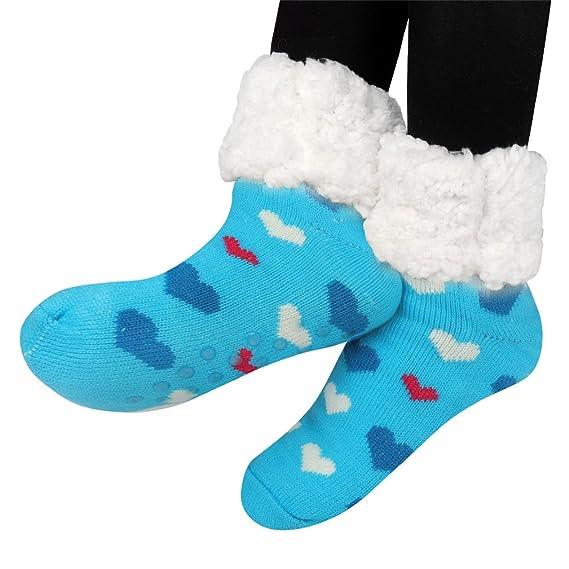 Kfnire mujeres térmicas calcetines súper gruesas calcetines en casa forro polar sin deslizamiento calcetines (azul): Amazon.es: Ropa y accesorios