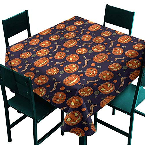 DONEECKL Washable Tablecloth Halloween Different Pumpkin Faces Easy to Clean W70 xL70