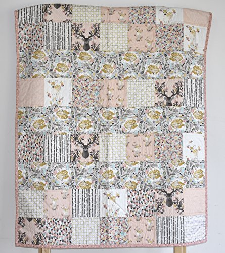 Woodland Quilt - deer, going stag, baby bedding, minky quilt by M&G Baby Glam