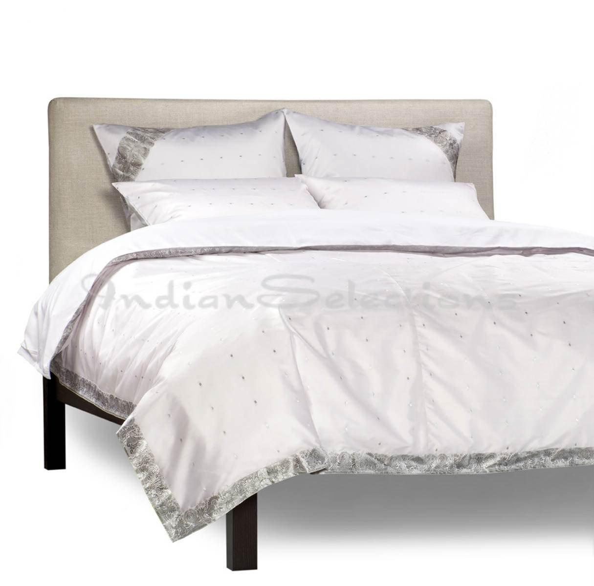 White Silver - 5 Piece Handmade Sari Duvet Cover Set with Pillow Covers / Euro Sham - Twin