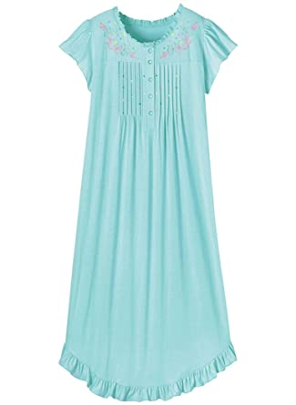 ae5fc0c77abd02 AmeriMark Embroidered Knit Nightgown at Amazon Women's Clothing store: