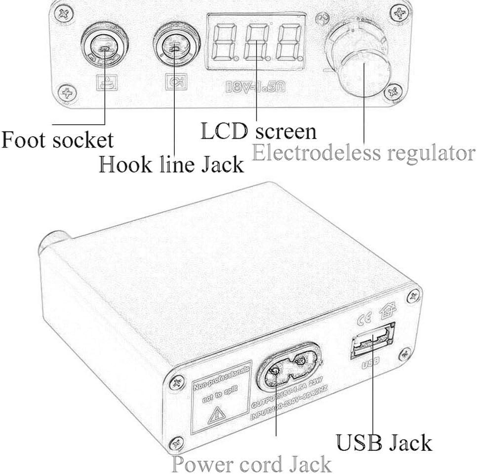 Color : Black QQYTS Tattoo Machine Set Power Transformer Mini LCD LCD Interface Thorn Tattoo Special