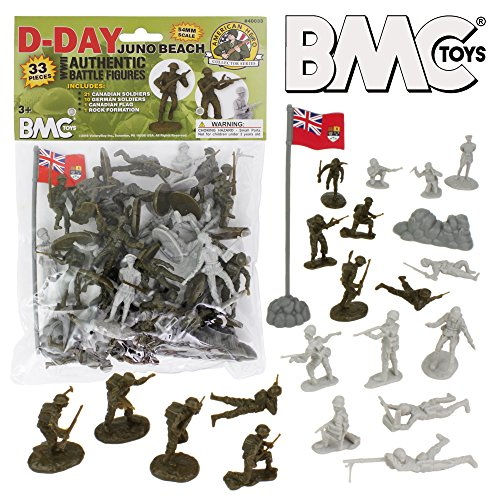 (BMC WW2 D-Day Juno Beach Plastic Army Men - 33pc Canada & German Soldier Figures)