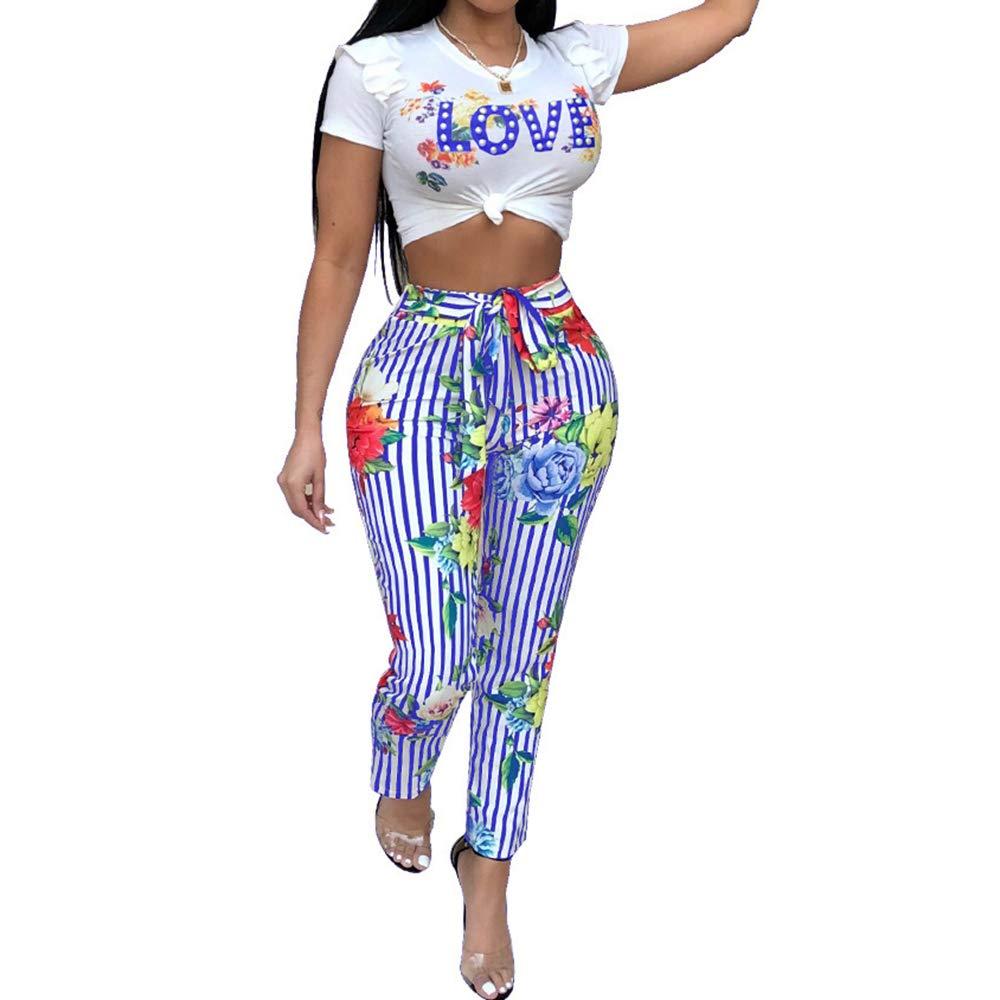 Unifizz Womens Floral Bedruckte Kurzarm Kurzes Oberteil Brief drucken Lange Hosen 2 Stück Outfits Overall mit Gürtel