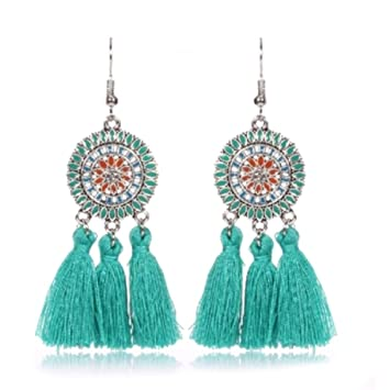 b49804bc730 Hemore Fashion Bohemia Ethnic Tassels Dangle Stud Earrings Ear Drop ...