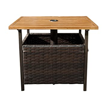SunLife Outdoor PE Wicker Stand Side Table, Garden Patio Tea/ Coffee Table  With Umbrella