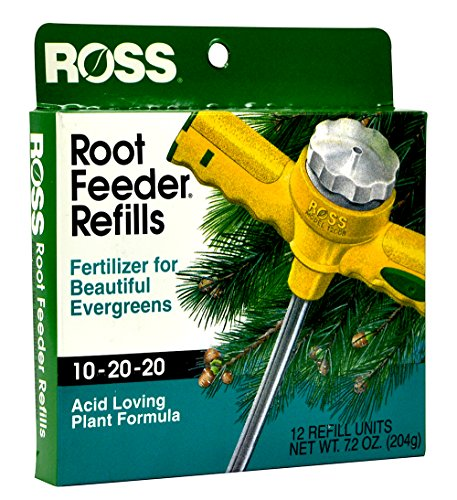 Ross Evergreen Shrub and Tree Fertilizer Refills for Ross Root Feeder, 10-20-20 For All Evergreens and Acid Loving Plants, 12 Refills