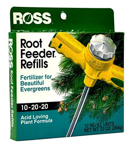 Ross Evergreen Shrub and Tree Fertilizer Refills for Ross Root Feeder, 10-20-20 For All Evergreens and Acid Loving Plants, 12 Refills