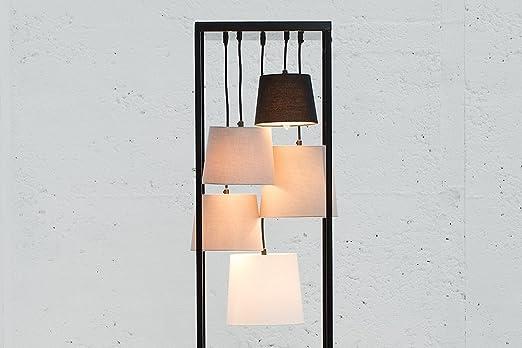 Außergewöhnliche Stehlampe LEVELS schwarz grau 5 Schirme Lampe Stehleuchte