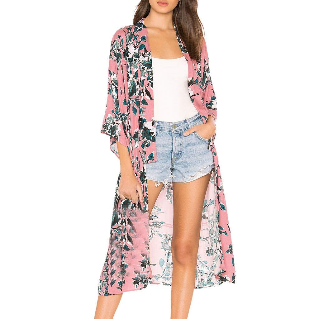 Women Fashion Casual Chiffon Shawl Print Kimono 3/4 Sleeved Cardigan Top Cover Up Blouse Beachwear(Pink,XL)