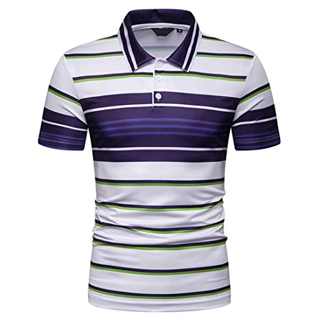 aef0538b2cf Amazon.com  OOEOO Polo Shirts for Men Short Sleeve Casual Fit Golf T-Shirts  (Blue