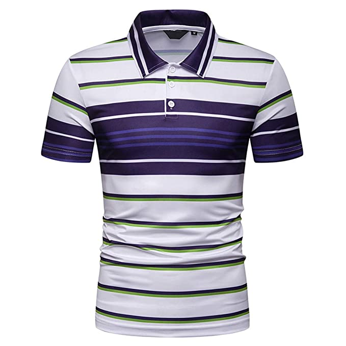 Fashion Men/'s Striped Casual T-Shirts Slim Fit Short Sleeve POLO Shirt Tops