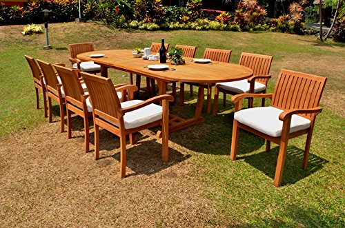 WholesaleTeakFurniture Grade-A Teak Wood 10 Seater 11 Pc Dining Set -118