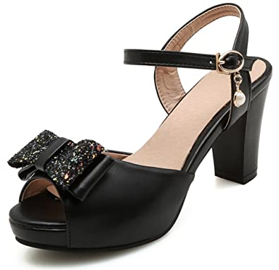 aa9708b3369 SFNLD Women s Sweet Sequined Bow Bead Peep Toe Cut Out Ankle Strap High Chunky  Heels Sandals