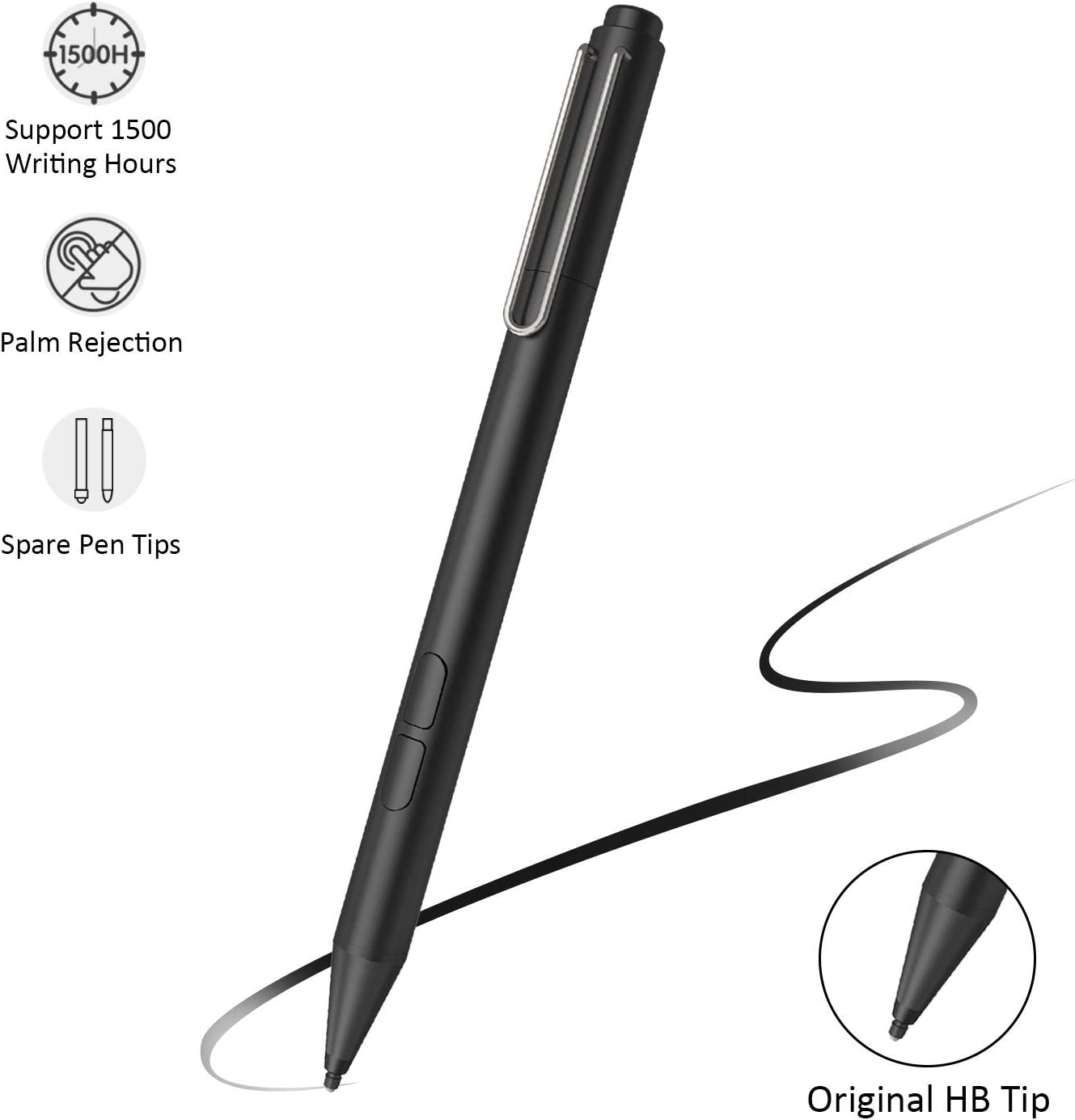 Uogic Pen for Microsoft Surface, Certified Digital Stylus with Palm Rejection, 1024 Levels Pressure, Flex & Soft HB Nib, for Surface Pro/Go/Laptop/Book/Studio, Including 2 Spare Nibs & AAAA Battery