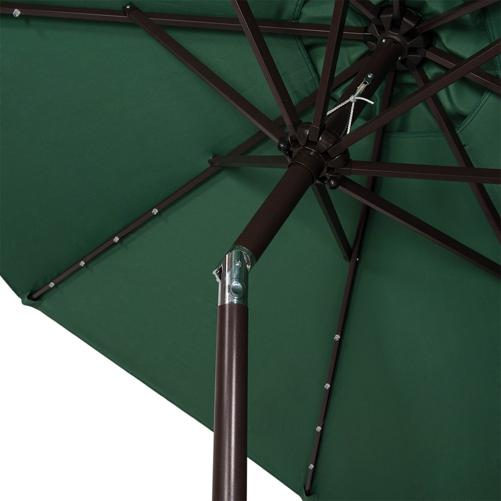 Sundale Outdoor Solar Powered 32 LED Lighted Patio Umbrella Table Market Umbrella with Crank and Push Button Tilt for Garden Backyard Pool Apple Green 8 Steel Ribs Deck 9 Feet