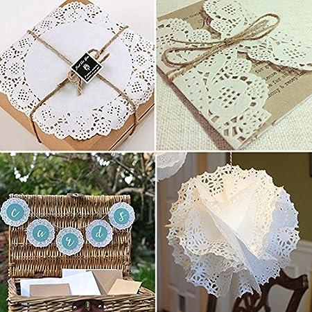 vipith 72 piezas blanco redondo de papel de encaje blondas tarta embalaje bloc de papel para fiesta o boda Tablewear decoración, 6,5 cm, 8,5 cm, ...