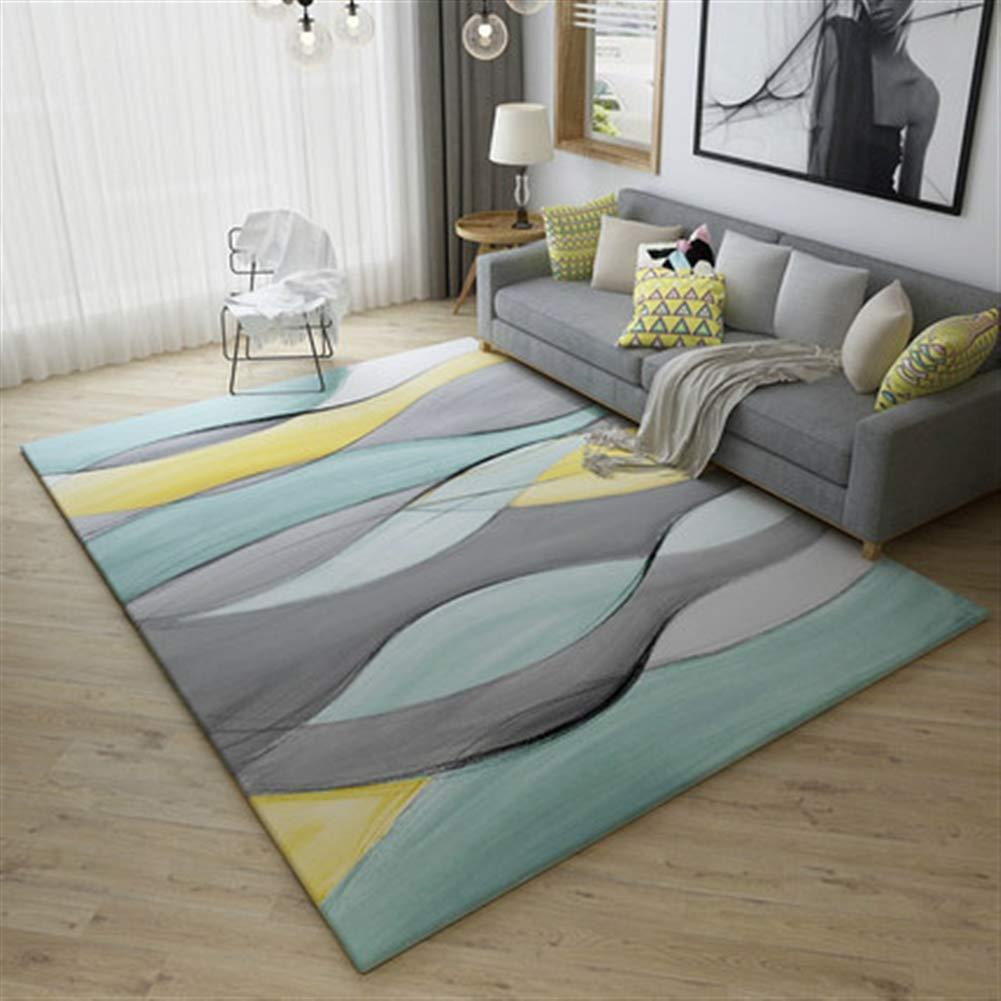Ommda Teppiche Wohnzimmer Modern Geometrisches Digitales Drucken Kurzflor Teppich Antirutsch Abwaschbar Farbeful 180x200cm