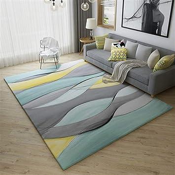 Ommda Teppiche Wohnzimmer Modern Geometrisches Digitales Drucken Kurzflor  Teppich Antirutsch Abwaschbar Colorful 180x200cm